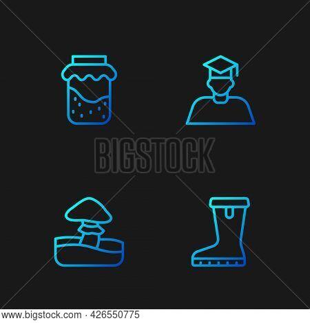 Set Line Waterproof Rubber Boot, Mushroom, Jam Jar And Graduate And Graduation Cap. Gradient Color I