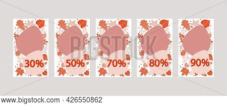 The Percentage Of Discounts. A Set Of Five Leaflets With A Discount Percentage.