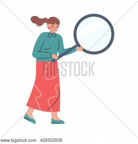 Woman Searching Untruth Information Through Magnifying Glass, Fake News, Disinformation Cartoon Vect