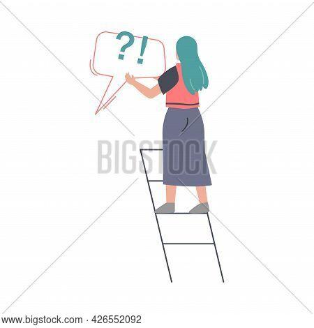 Fake News And Disinformation Concept, Woman Spreading Untruth Information Cartoon Vector Illustratio