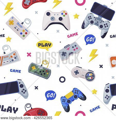 Modern Game Console Controllers Seamless Pattern, Video Game Players Accessory Devices Background, B