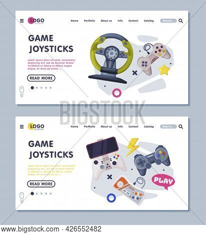 Game Joystick Landing Page Templates Set, Gamepads Controller Consoles Web Banners, Homepage Design,