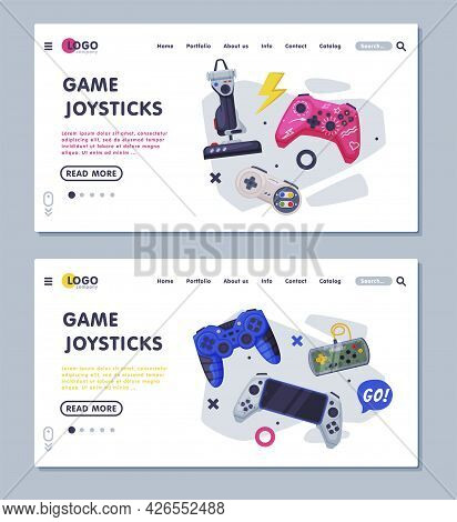 Game Joystick Landing Page Templates Set, Gamepads Controller Consoles Web Banners, Gaming Industry