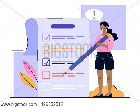 Concept Of Time Management. A Woman With A Pencil Marks The Completed Tasks In Her To-do List With A
