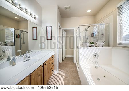 Interior Of A Bathroom With Craftsmans Style Vanity