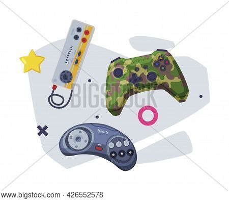 Game Joysticks Set, Retro Gamepads Controller Consoles Vector Illustration On White Background