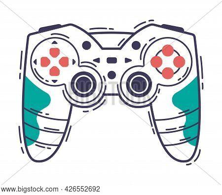 Video Game Controller, Gamepad Joystick Game Player Gadget Hand Drawn Vector Illustration