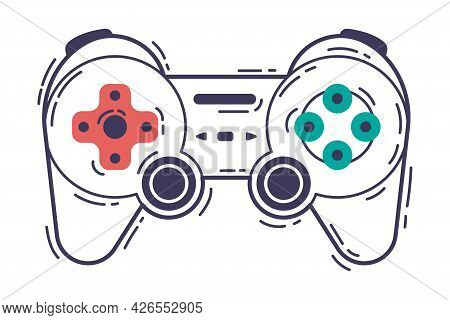 Video Game Controller, Video Game Player Modern Device Hand Drawn Vector Illustration