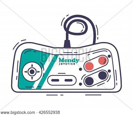 Video Game Console, Video Game Controller Modern Accessory Device Hand Drawn Vector Illustration