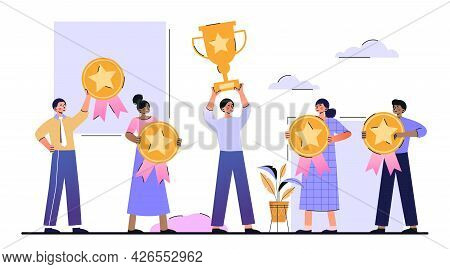 Customer Reviews Rating Concept. Satisfied Customers Hold A Trophy And Gold Quality Marks In Their H