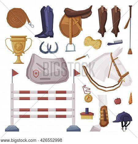 Equestrian Sport Equipment Set, Horse Riding Essentials And Grooming Tools Vector Illustration
