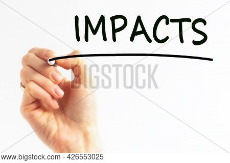 Hand Writing Inscription Impacts With Marker, Stock Image