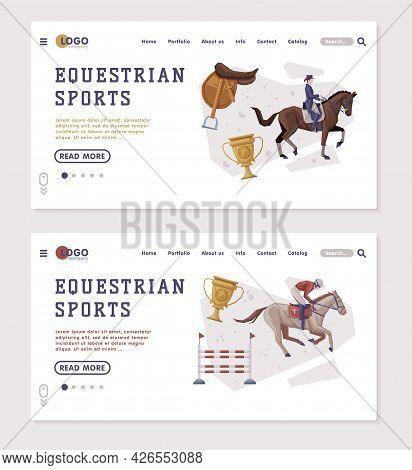 Equestrian Sports Landing Page Templates Set, People Riding Horses, Racing, Dressage, Vaulting Homep