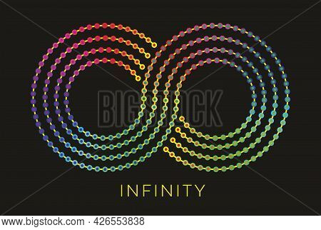 Eternity, Infinity Symbol With Dotted Colorful Lines. Vector Illustration. Eps10.
