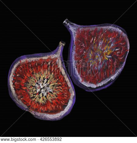 Figs Fruits Of Purple Fruits, With Pulp And Whole Picture And Pattern Seasonal Natural Product, Heal