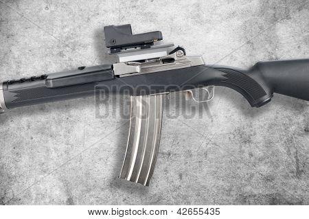 Assault Rifle On Grunge