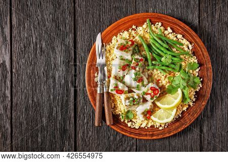 Bacalhau Com Todos, Cod With Bulgur, Steamed Green Beans, Sprinkled With Hot Chili Peppers And Sprin