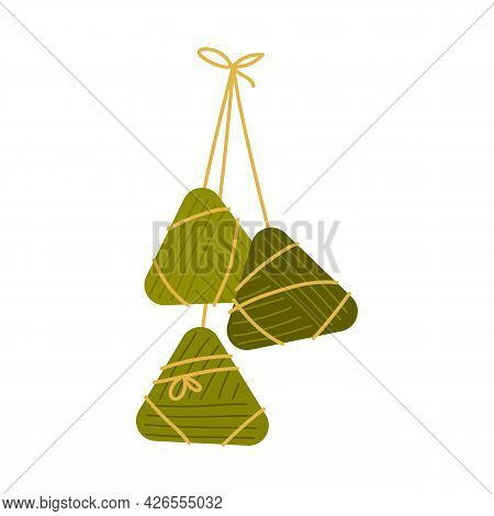 Chinese Rice Dumplings Zongzi Wrapped In Bamboo Leaves. Taiwanese Traditional Holiday Food. Bundle O
