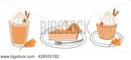 Set Of Autumn Sweets - Pumpkin Spice Latte, Piece Of Pumpkin Pie And Cupcake With Cream On A Plate.
