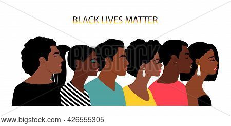 Black Lives Matter People. Black Persons Life Freedom Poster, American Blacks Humans Poverty And Dea