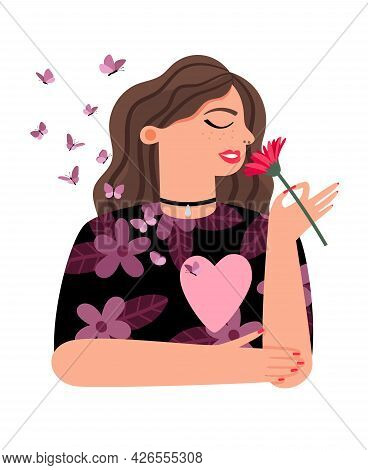 Proud Girl Loving Yourself. Happy Woman With Hearts And Butterflies With Love Herself Vector Illustr