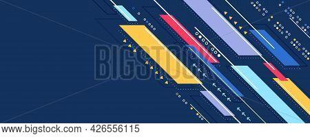Abstract Diagonal Stripes Line Elements On Blue Background. Modern Dynamic Geometric Pattern. Design