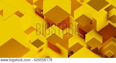 Yellow Random Shifted Isometric Cube Or Boxes Background, 3d Illustration