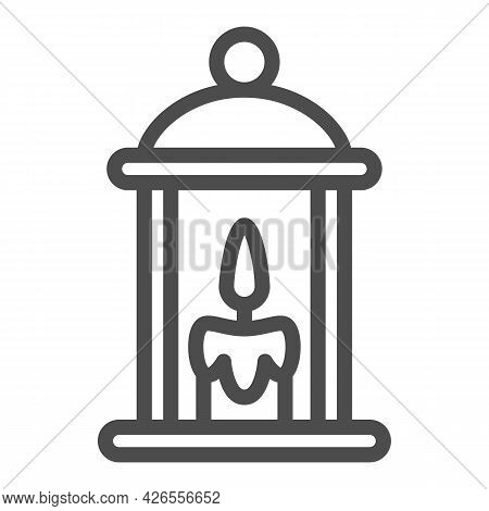 Lamp With Burning Candle Line Icon, Lamp And Lanterns Concept, Cozy Light Lantern Vector Sign On Whi