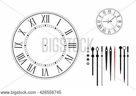 Clock Face In Retro Style With Roman Numerals.