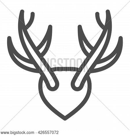Horns As Trophy Line Icon, Hunting And Decoration Concept, Mounted Antlers Horn Vector Sign On White