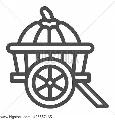 Pumpkin In Cart Line Icon, Vegetable Crop Concept, Pumpkin In Wagon Vector Sign On White Background,