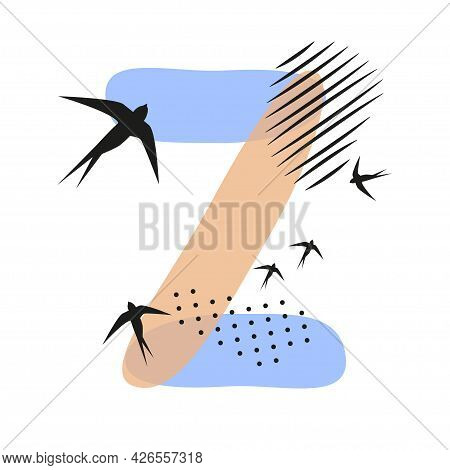 Minimalistic Pattern An Oriental Style In Form Of Letter Z. Flock Of Swallows Flies. Abstract Object