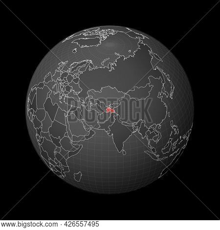 Dark Globe Centered To Tajikistan. Country Highlighted With Red Color On World Map. Satellite World