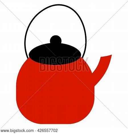 Vector Illustration Of Teapot In Cartoon Flat Style. Teakettle On White Background