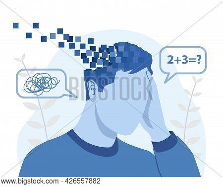 Memory Loss And Dementia, Brain Disease, Brain Damage Abstract Concept. Sad Man Losing Parts Of His