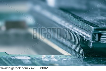 Close up shot of LCD terminals on printed circuit board
