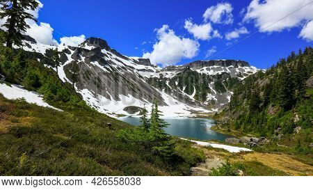 North cascades mountains by Bagley lakes in Mt Baker recreation area