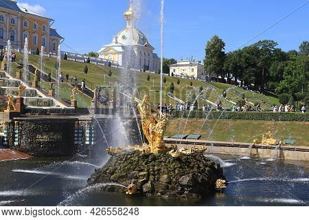 Russia, St. Petersburg, Peterhof, July 12, 2021. The Photo Shows The Fountain Of The Grand Cascade I