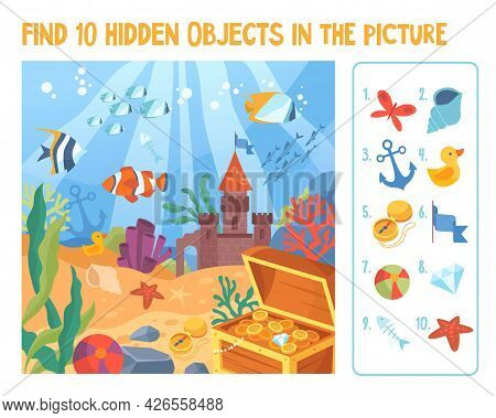 Marine Life Or Underwater Life Concept. Find 10 Hidden Objects In The Picture. Puzzle Hidden Items.