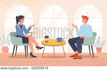 Interview With A Famous Person. Television Or Internet Broadcast With Female Journalist Talking To C