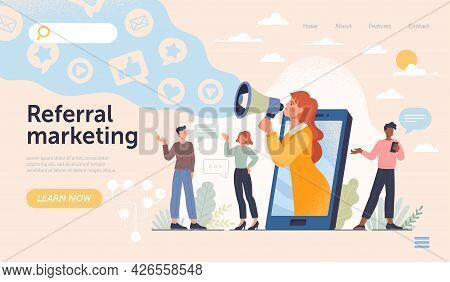 Refferal Marketing Abstract Concept. Refer A Friend Loyalty Program, Promotion Method. Group Of Peop