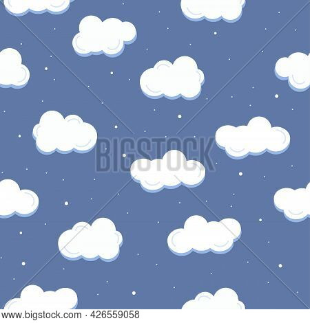 Seamless Pattern With White Cloud And Snowflakes On Blue Background. Snowfall Print