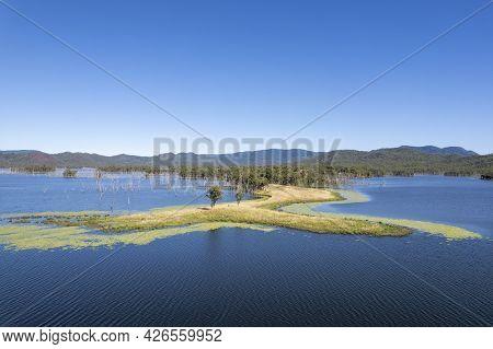 Aerial Towards Land In The Water Catchment Area Of Teemburra Dam Queensland Australia