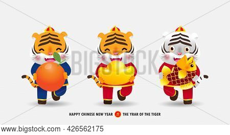 Happy Chinese New Year 2022 Banner Little Cute Tiger Holding Mandarin Orange, Gold Ingots And Fish,