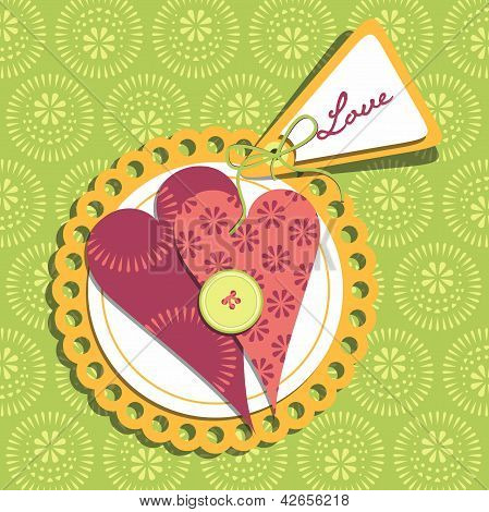 Happy Valentines Day Cards With Ornaments, Hearts And Label