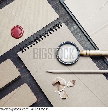 Blank Kraft Stationery Set On Wood Table Background. Business Brand Template. Branding Mock Up. Top