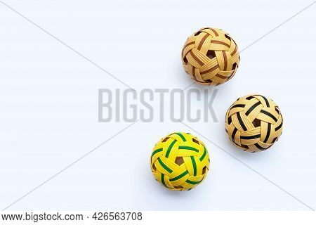 Rattan Balls On A White Background. Top View