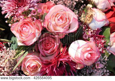Fresh Pale Pink Roses In Bridal Flower Arrangement