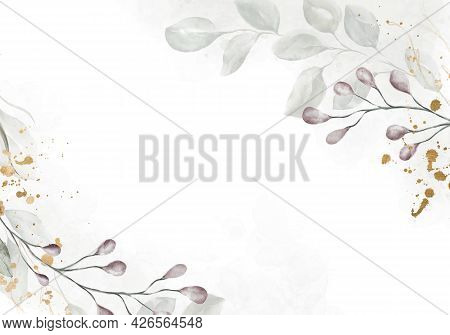 Pale Watercolor Leaves On White Background - Vertical Botanical Design Banner. Floral Pastel Waterco