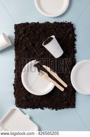 Single-use Tableware Dinnerware Popular Non-plastic Alternatives On Ground On Blue Flat Lay Composit